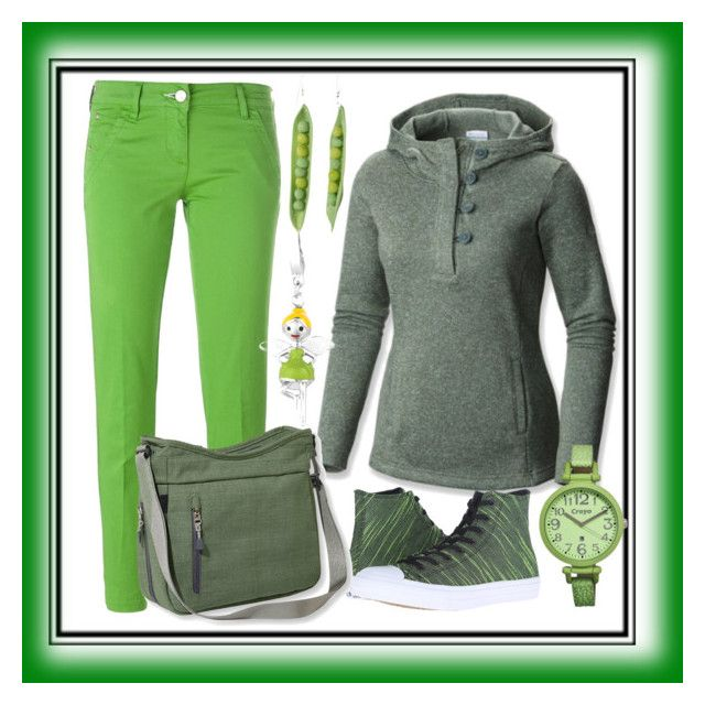 Green walk by amisha73 on Polyvore featuring moda, Columbia, Jacob Cohёn, Converse, L.L.Bean and Crayo