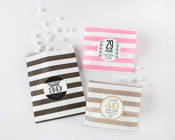 Striped Paper Favor Bags - Milestone Birthday (Set of 25)