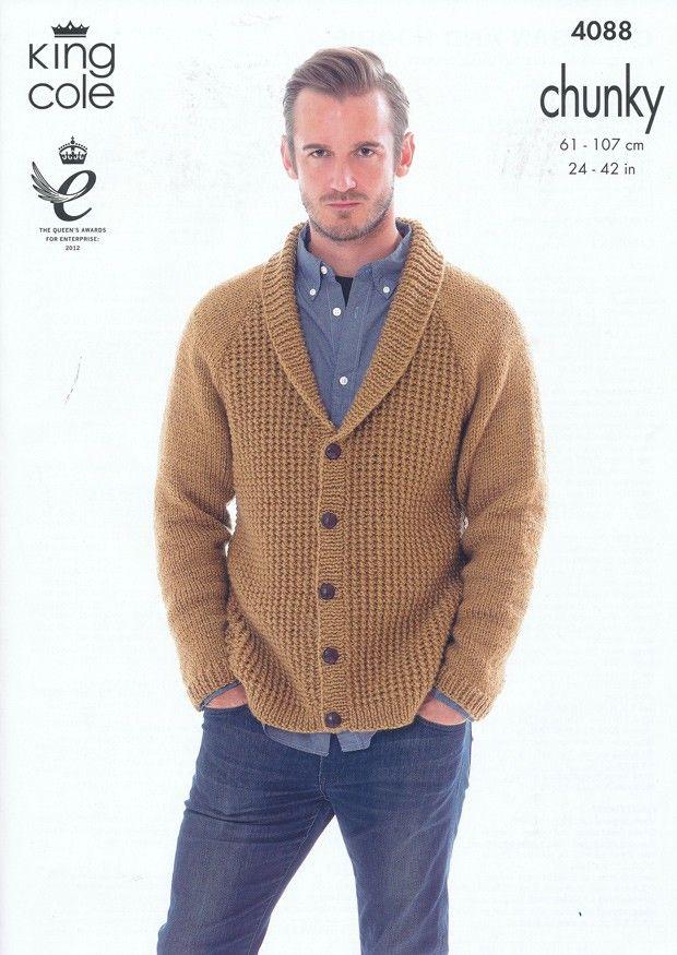 Mens Hoodie Knitting Pattern : Cardigan and Hoodie in King Cole Big Value Chunky (4088) Mens Knitting Patt...