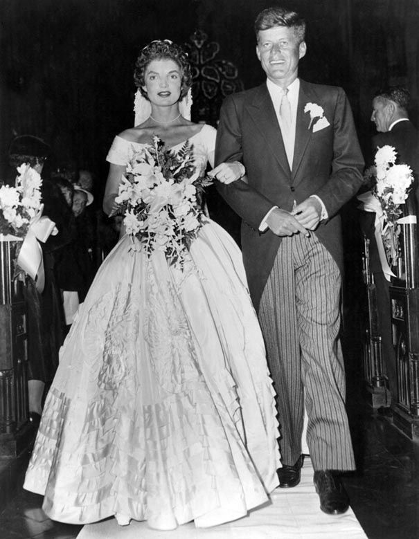 Jacqueline Bouvier and John F. Kennedy - 12th of September 1953. Rumours said that she actually didn't like her wedding dress at all. What do you think?