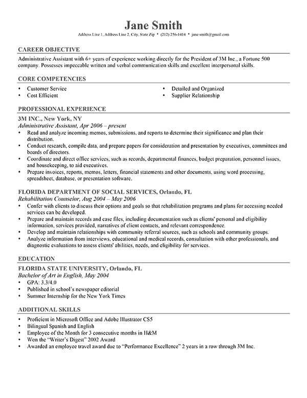 41 best Resume Templates images on Pinterest A professional - resume competencies