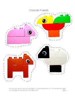 LEGO Duplo Character Puppets to go with the Busy Farm Build and Grow set. Teacher-mom made.  Great for story retelling. #LegoDuploParty