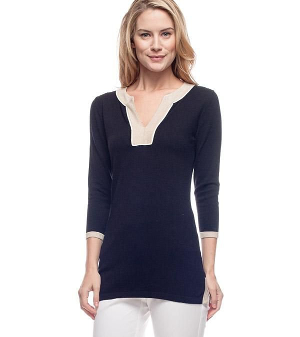 This is available in several colors at J. McLaughlin (and they have an entire category dedicated to tunics, btw). There is a touch of spandex to keep this cotton top in shape. $198. Click here.