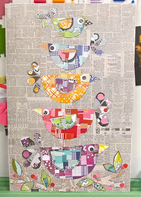 Collage Folk Art Birds 3rd grade auction item on canvas board 22 x 28