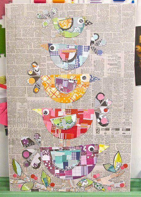 éléments colorés et collés sur fond papier journal