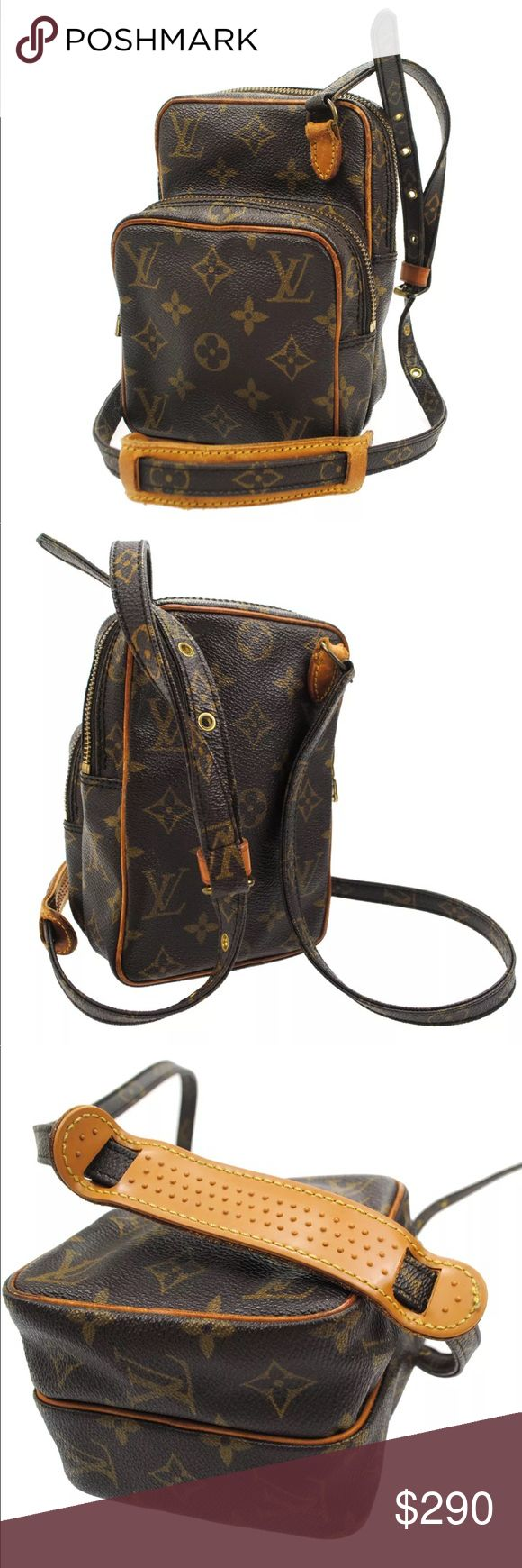 "Authentic Louis Vuitton Amazon PM Crossbody bag Brown and tan monogram coated canvas Louis Vuitton Amazon bag with brass hardware, single zip pocket at exterior. single adjustable shoulder strap, brown leather lining, single pocket at interior wall and zip closure at top. Date code reads 883TH. hardware tarnished, leather aging, scuffs inside. Made from the Super durable vintage canvas that we all love! 7"" by 5"". Louis Vuitton Bags Crossbody Bags"