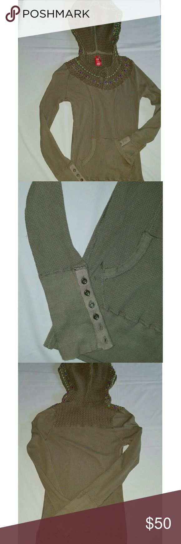 !!NEW!! FREE PEOPLE OLIVE THERMAL HOODIE EUC EUC FREE PEOPLE OLIVE THERMAL HOODIE Just the cutest and softest thermal around. This great top has delicate multi color embroidered yarns trimming the neckline and hood. No snags or pilling. Free People Tops