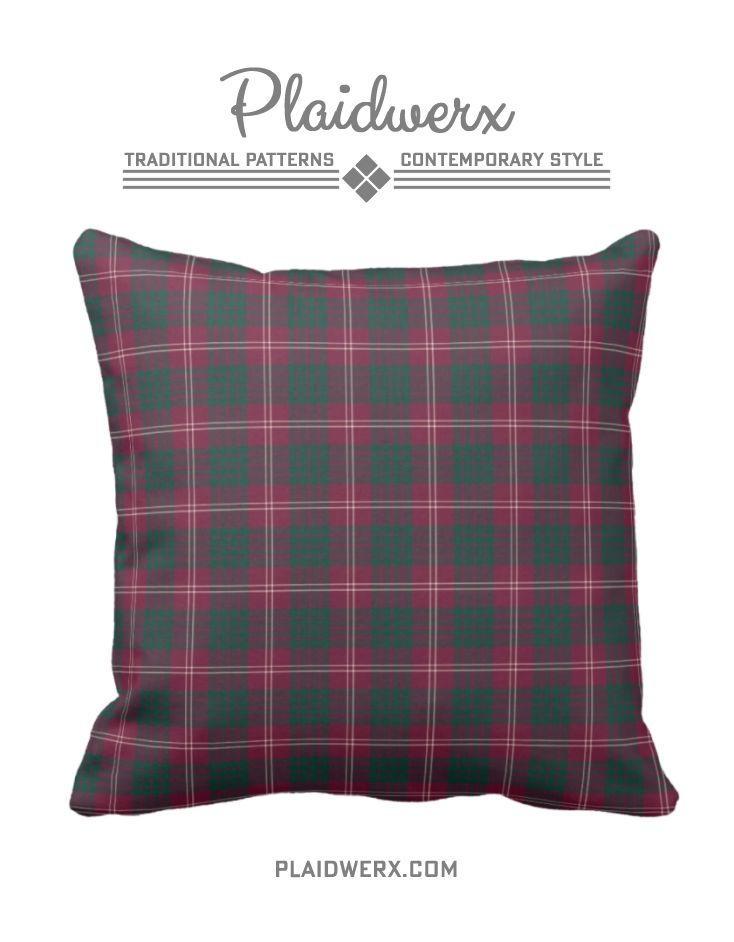 Clan Crawford Tartan Throw Pillow - Choose from three fabric types and three sizes. #crawford #tartan #plaid #scottish #pillow #throwpillow #homedecor #plaidwerx