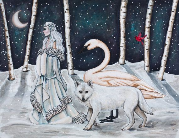 The Wanderer  Print by TheGypsyTitmouse on Etsy #snowqueen #whitewolf #whiteswan