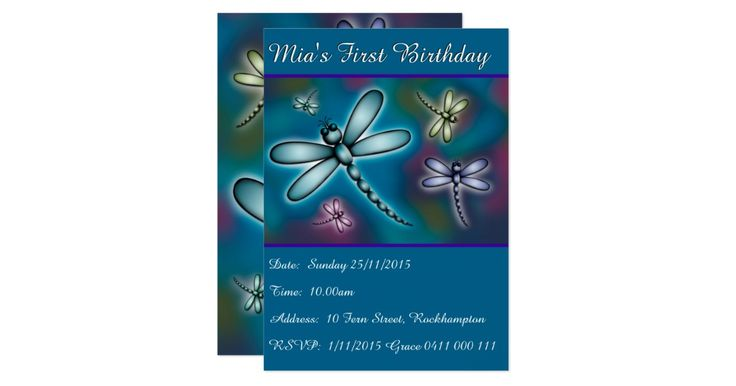 Personalised birthday party invitation featuring colourful dragonflies. Perfect for a girls birthday.