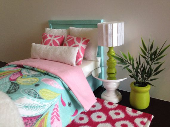 Light Aqua doll bed with aqua/pink pattern blanket blanket, Monster High furniture, Barbie furniture, Fits 2 dolls