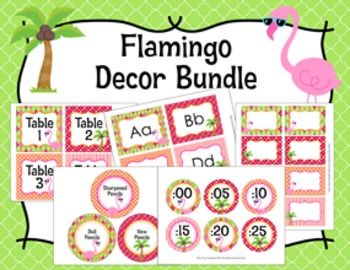 These sweet items are great for decorating your room in a flamingo theme:-Clock Numbers-These clock numbers are great to help your students tell time. The labels measure 3 inches. Print onto cardstock and laminate for sturdiness. Trim and adhere to the wall around your clock.File includes two 8 1/2 x 11 pages.