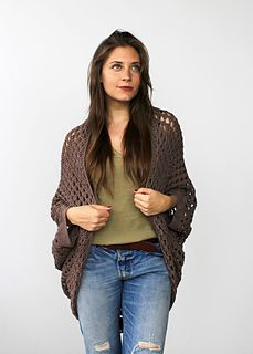 Movie Night Cocoon Cardi free crochet granny square shrug pattern by Two of Wands // using Lion Brand 24/7 cotton