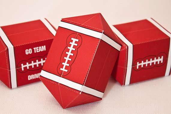 FOOTBALL Favor Box : DIY Printable PDF - Instant Download