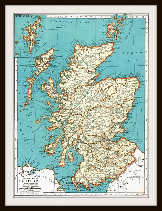 Antique Map -  ENGLAND & SCOTLAND - 1940 Map Page -  Buy 3 Maps/Get 1 FREE by KnickofTime