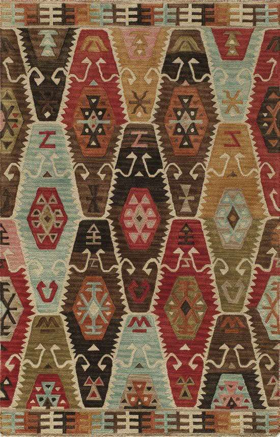 Inspired by a rustic outdoor lifestyle, combined with the nomadic motifs of traditional Kazak patterns, Momeni presents the Tangier Collection. Made of 100% wool that has been hand-hooked and tip sheared and then washed to create a worn rugged feel
