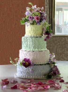 spring wedding cake, spring wedding themes, pastel wedding cale, wedding cake with different colors