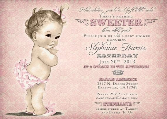 """Rhinestones, pearls and soft little curls"" baby shower invitations. Made-to-order and DIY printable."