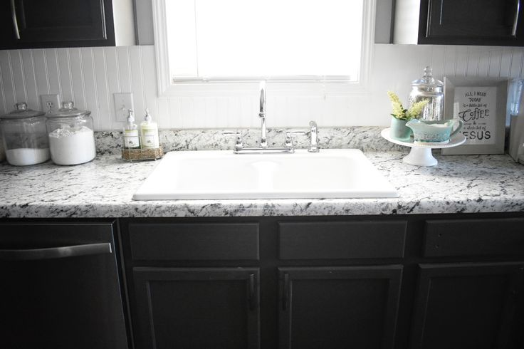 Farmhouse Sink With White Ice Formica Laminate Countertops