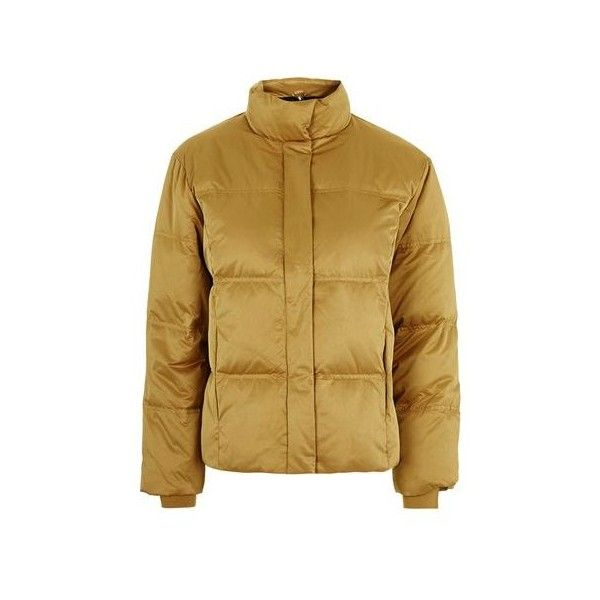 TopShop Satin Puffer Jacket ($100) ❤ liked on Polyvore featuring outerwear, jackets, mustard, satin jackets, brown jacket, mustard yellow jacket, puffer jacket and brown puffer jacket