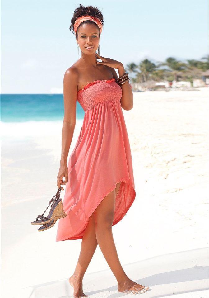 Tolles Kleid in Rot von Lascana. Es kann je nach Lust und Laune als Kleid oder als Rock getragen werden. Dank des gesmokten Oberteils lässt es sich einfach stylen sowie hoch- oder runterziehen. - ab 28,00 €