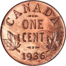 A 1936 Canadian Dot Cent, made by the Royal Canadian Mint in 1937, sold at auction for $402,500 US.