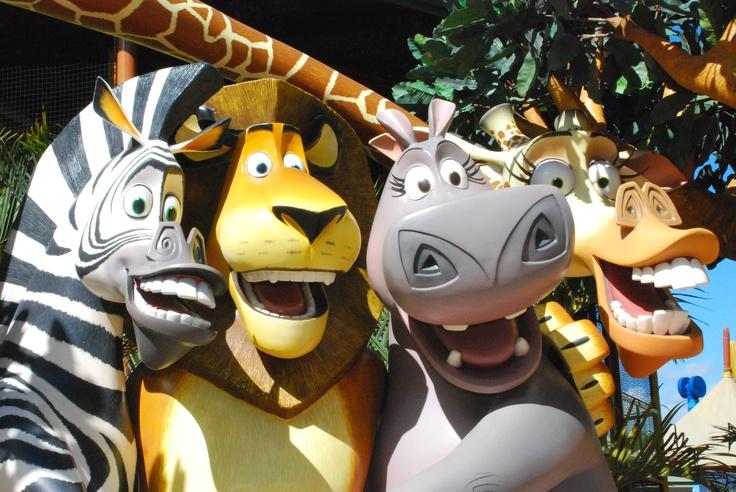 Madagascar characters.  DreamWorks Experience at Dreamworld, Australia