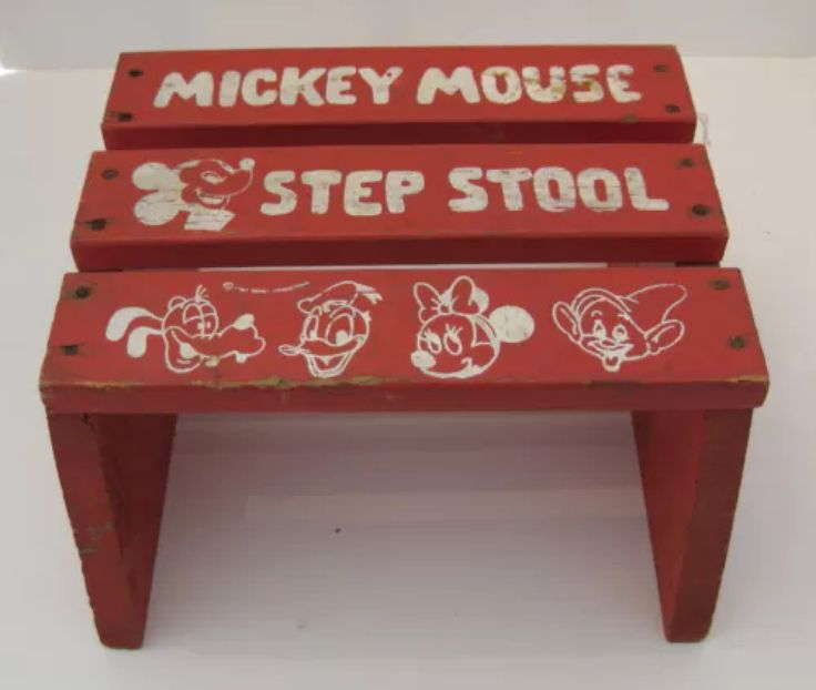 Vintage Wooden Mickey Mouse Red and White Painted Step Stool Stands 6 x 11 Long x Wide Depicts Mickey Goofy Donald u0026 Minnie Very Secure and able to ho. & 661 best Mickey vintage images on Pinterest | Mice Disney toys ... islam-shia.org