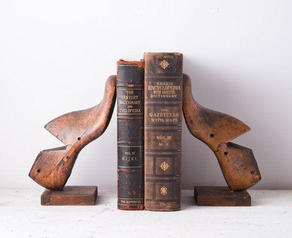 Vintage Wooden Shoe Form Bookends  Cowboy Foot Molds  by fallaloft, $85.00