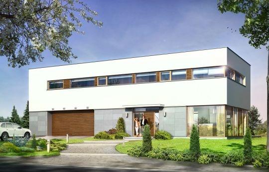 Projekt Vertigo to dom przeznaczony dla dużej, nawet siedmioosobowej rodziny, zaprojektowany w konwencji nowoczesnych miejskich willi. Budynek zaprojektowano jako piętrowy, z płaskim dachem, złożony z dwóch zestawionych ze sobą i  przenikających się wzajemnie prostopadłościennych brył. Architektura zewnętrzna domu ma dwa oblicza.