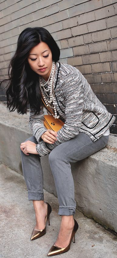 Metallic tweed Cardigan and Jeans. I don't like the shoes and bag paired with this particular outfit, but otherwise..