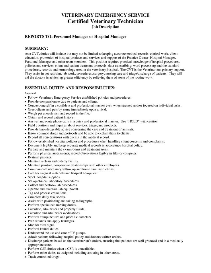 Veterinary Assistant Resume Examples  Resume Examples And Free