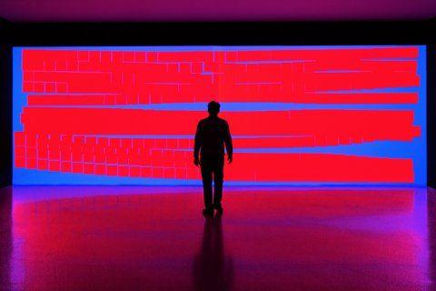 MiguelChevalier,une vague composée de motifs en référence à l'universnumérique(pixels,0et1,représentation symbolique du code binaire, symboles claviers d'ordi (lettres,points);symboles mathématiques (+ x -)et de formes puisant dans l'alphabet plastique d'AugusteHerbin. Grâce à des capteurs de présence,cet univers fluide réagi aux mouvements des visiteurs.Leurs mouvements amplifient la déformation de ces pixels. idée du trompel'oeil. perturber perceptions des visiteurs=sensation de mur qui…
