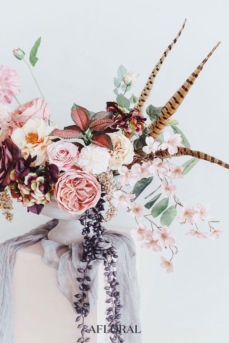 rustic wedding centerpiece ideas rustic wedding chic.htm boho wedding centerpiece with silk flowers and real pheasant  boho wedding centerpiece with silk
