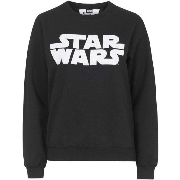 Star Wars Sweatshirt by Tee and Cake (£32) ❤ liked on Polyvore featuring tops, hoodies, sweatshirts, black, black top, tee and cake, sweat shirts, logo sweatshirts and sweatshirt hoodies