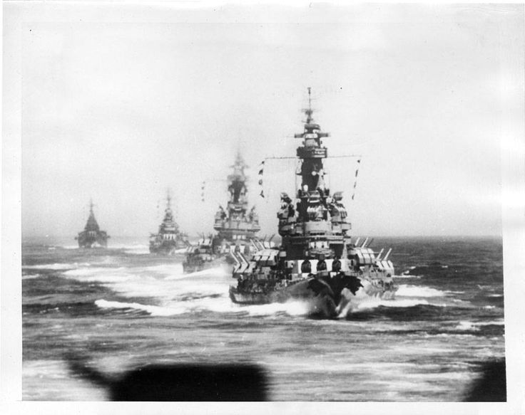 1945:Four U.S. battlewagons of the Third Fleet maneuver into position a few minutes before opening their mighty guns on Imperial Iron Works at Kamaishi, on Honshu. The Navy did not identify these four ships, but said ships participating were the USS Massachusetts, South Dakota, Indiana, Quincy and Chicago.
