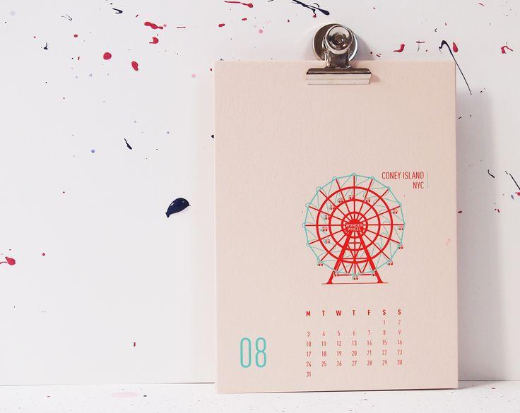 Buildings Of New York City - Coney Island, mmmMAR Illustrated and hand screened by Marieken Hensen, Calendar 2015