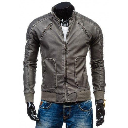 Pánska kožená bunda sivej farby s vreckami - fashionday.eu