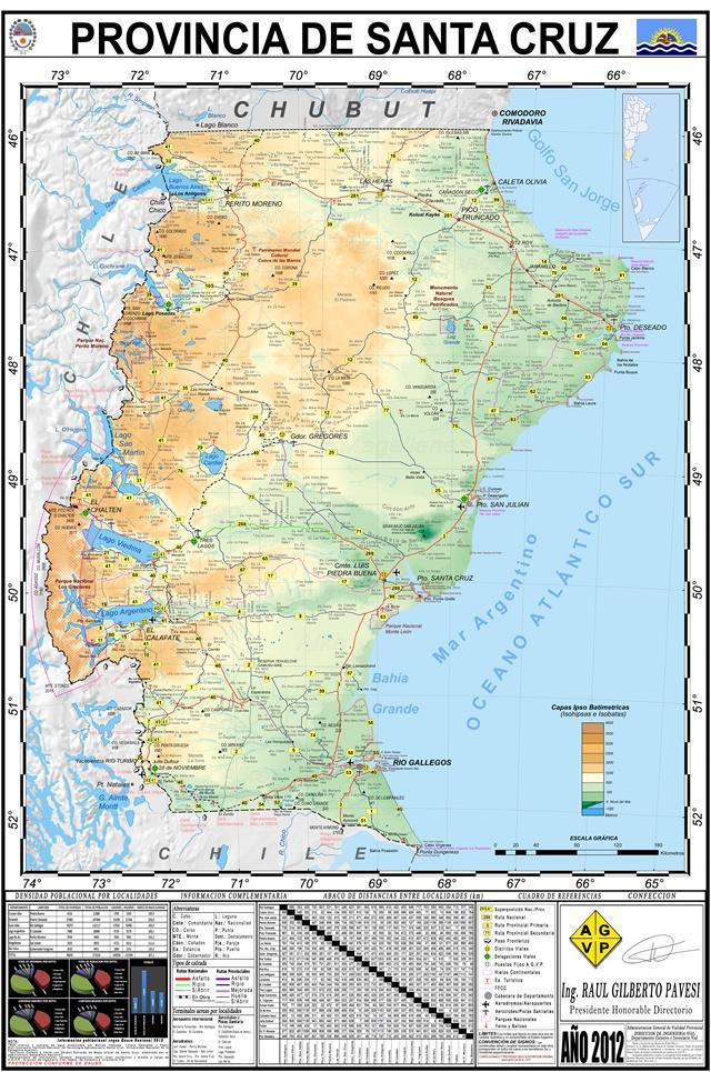 Mapa Provincia De Santa Cruz Patagonia Argentina
