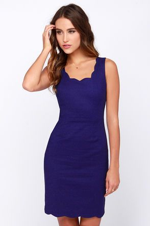 Wearing it only once would be a shame, so make sure you have plenty of parties to show off the Another Kiss Good Night Royal Blue Dress! Starting with a scalloped scoop neckline, the darted bodice of this woven blue dress is paired with a V-back and sleeveless cut. Subtle darts on the bodycon skirt add an extra element of fit above the chic scalloped bottom hem. Hidden back zipper/clasp. Unlined. 50% Cotton, 47% Nylon, 3% Spandex. Hand Wash Cold. Imported.