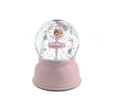 Nattlampe i snøkule med ballerina og glitterflak, 499,- rooosa ;-)