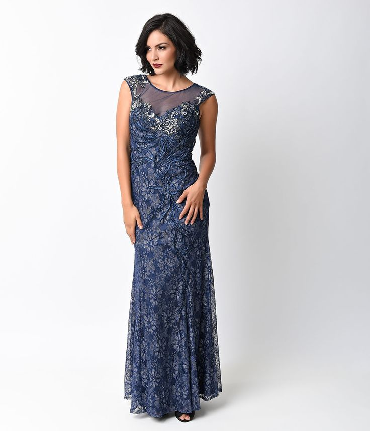 1930s Style Navy Cap Sleeve Rhinestone Embroidered Lace Gown