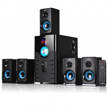 BEFREE SOUND beFree Sound 5.1 Channel Surround Sound Bluetooth Speaker System- Blue Model: BFS-500 Complete your home theater experience with stunning sound from this 5.1 channel Bluetooth speaker sys