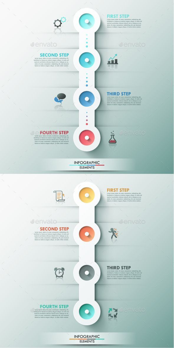 Business infographic : Modern Infographic Process Template (2 Colors)  Photoshop PSD #paper #busines