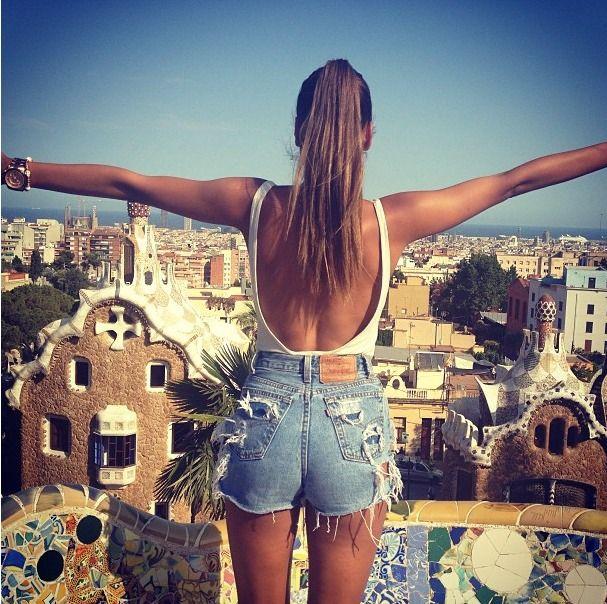 tan, denim shorts, street style