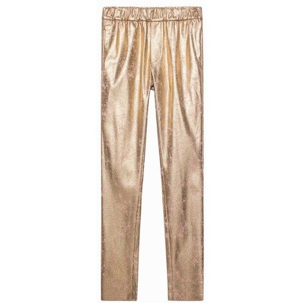Zadig & Voltaire Paronor Deluxe Pants (17.185 RUB) via Polyvore featuring pants, cropped, gold, draw string pants, elastic waistband pants, cropped pants, cropped trousers и elastic waist pants