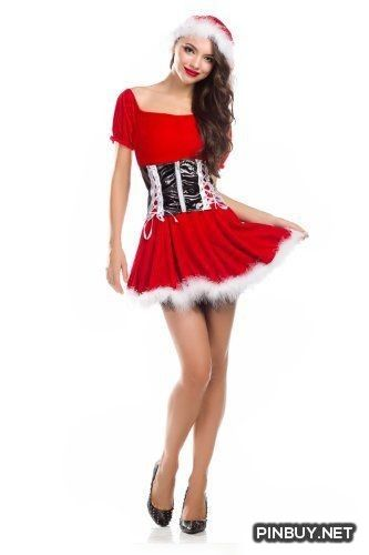 Amour-New Santas Helper Christmas Costume Full Set Hat   Dress   Waist Cincher - PinBuy