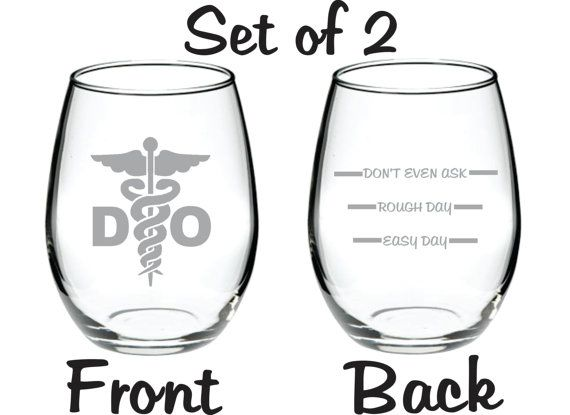Etched D.O. Doctor of Osteopathic Medicine Glass Set of 2  FREE Personalization