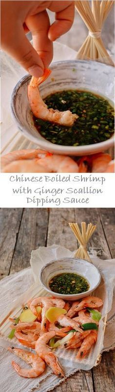 Chinese Boiled Shrimp with Ginger Scallion Dipping Sauce recipe by the Woks of Life