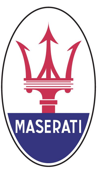 Italian car-manufacturer's Maserati's trident badge; inspired by the trident attribute held by the Roman god Neptune, as portrayed in Bologna, Italy's, Fontana di Nettuno/Fountain of Neptune, by Giambologna, c.1567; Maserati was founded in Bologna.